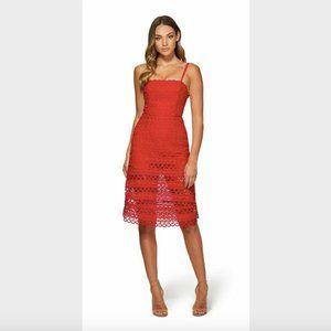 Kookai Cherry Red Lily Lace Midi Dress 38